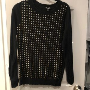 Express gold studded front sweater